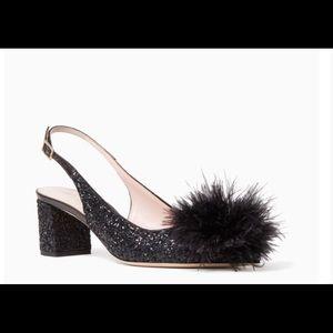 Kate Spade monica maribou pouf black glitter pump